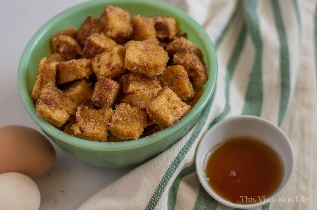 These gluten-free French toast bites are so yummy. They are sure to be a new family favorite breakfast! I personally love to prepare them for Christmas breakfast as a fun treat.