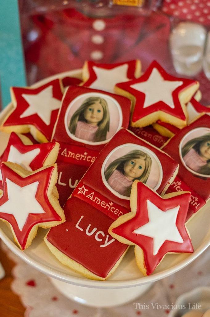 American girl decorated sugar cookies