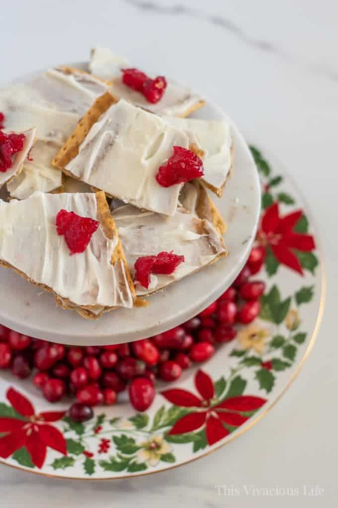 This Christmas crack recipe is super easy to make and so dang yummy! It is gluten-free and will definitely be a new holiday favorite treat! || This Vivacious Life #glutenfree #christmasdessert #christmascrack #christmasdessert #thisvivaciouslife