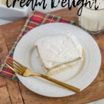 This eggnog cheesecake cream delight is so delicious and full of traditional holiday flavors. It will help bring back nostalgic times of Christmas at grandmas. Plus, it's gluten-free! || This Vivacious Life #glutenfree #eggnog #holidaydesserts #cakerecipes #thisvivaciouslife