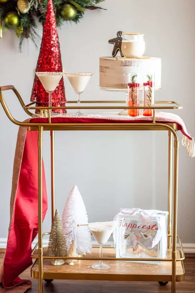 Christmas mocktails on a bar cart with decor