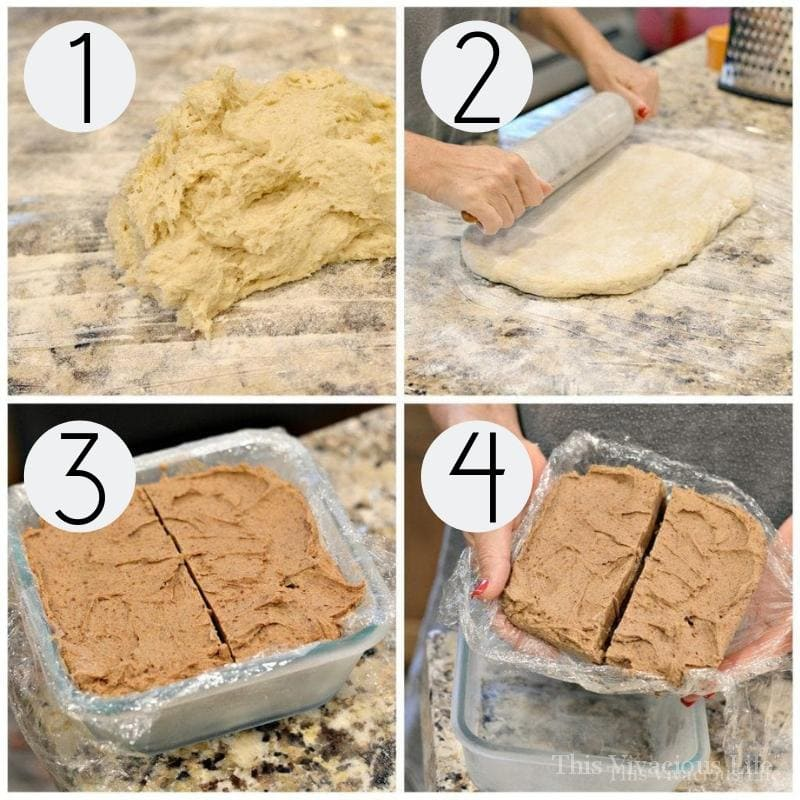 Step-by-step instructions for making the BEST gluten-gree cinnamon rolls. Here you see the dough in a pile, being rolled out and the frozen brown sugar butter filling in a dish.