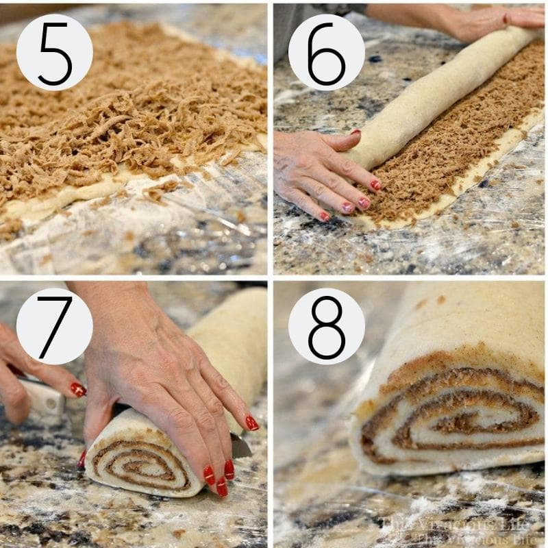 Step-by-step instructions for rolling and slicing gluten-free cinnamon rolls.