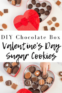 Valentine's Day sugar cookies in a DIY chocolate heart box are a fun gift to give a loved on. Can you only need THREE things to make this cute box?! || This Vivacious Life #valentine #valentinesday #glutenfree #DIYvalentine #thisvivaciouslife