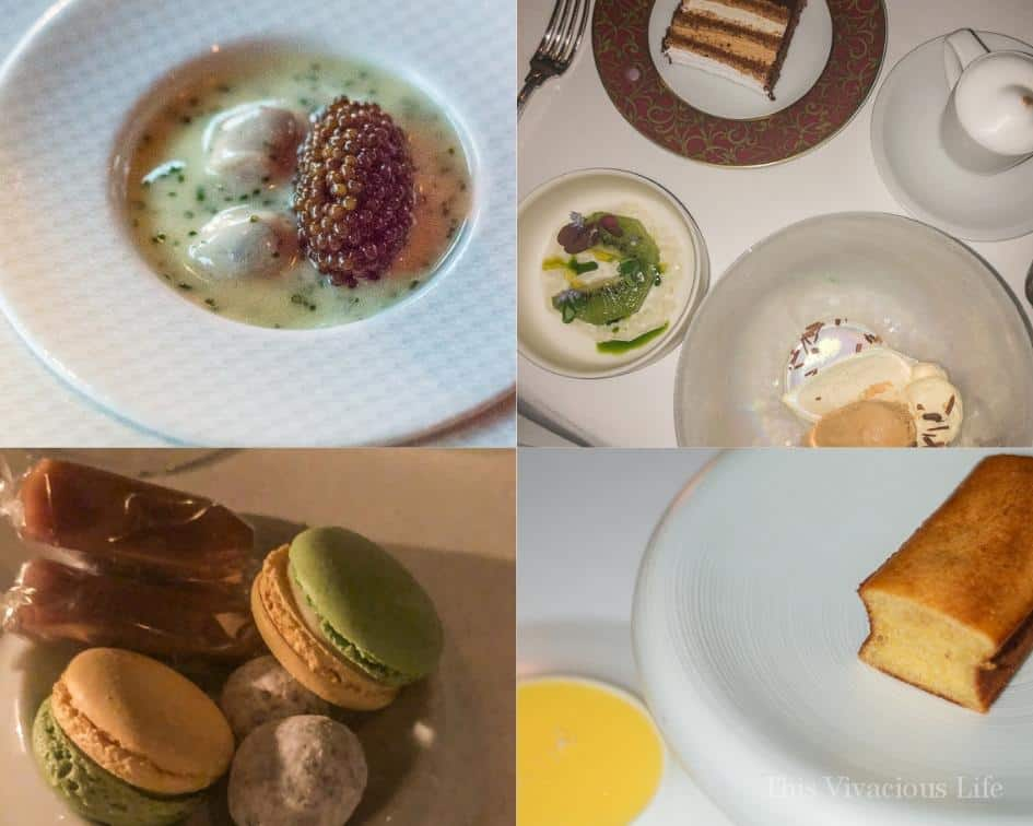Photo collage of dinner and desserts from The French Laundry