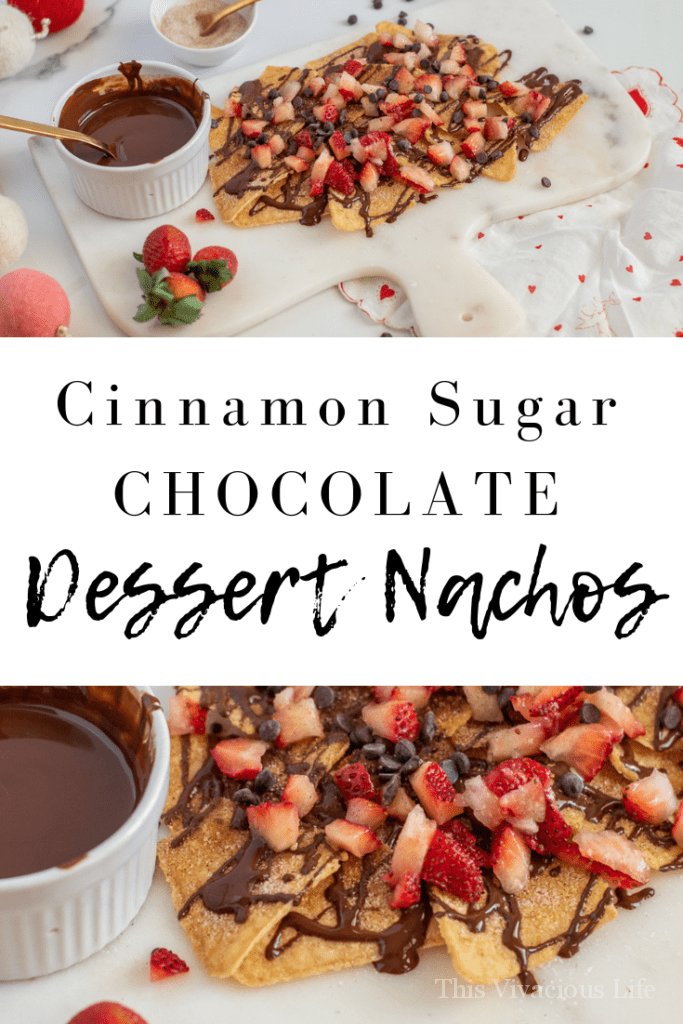 Dessert nachos are everything! These crunchy chips are covered in cinnamon sugar. They are then drizzled with a smooth and rich chocolate sauce and topped with chopped strawberries.
