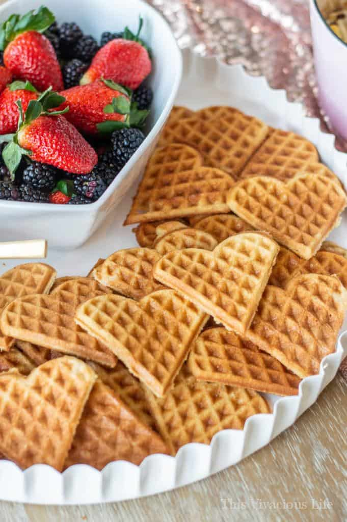 Heart waffles with strawberries and blackberries