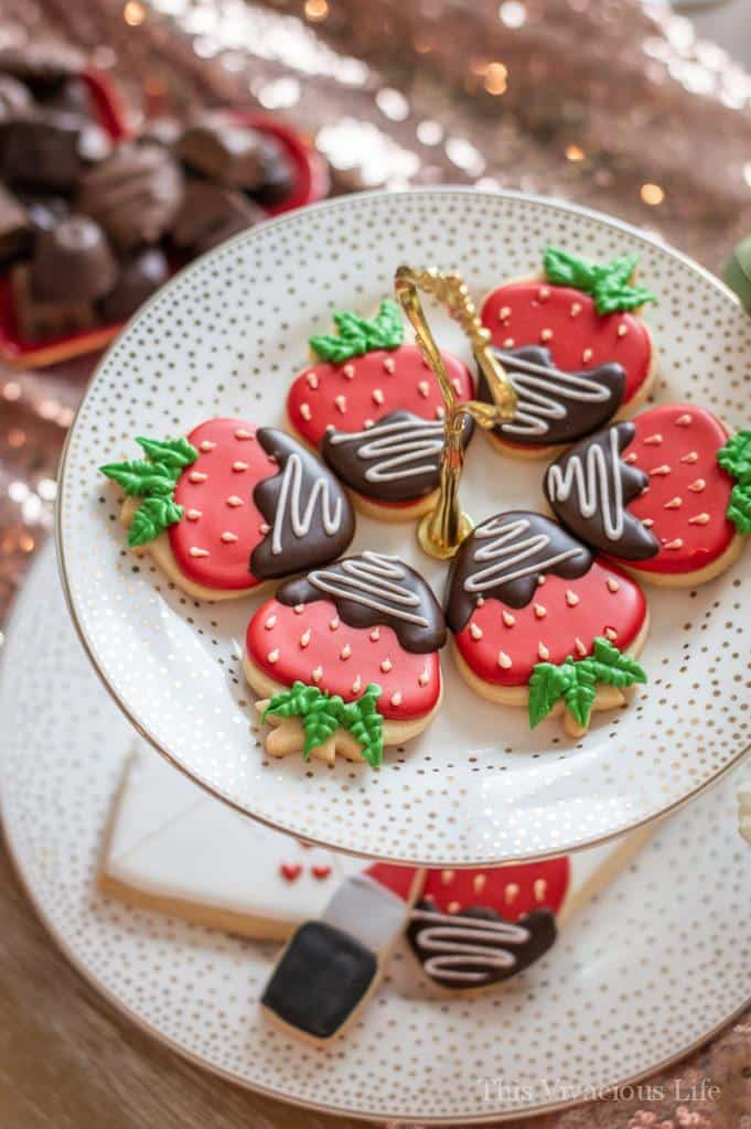 Galentines party chocolate dipped strawberry sugar cookies