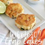Whole30 gluten-free crab cakes that are easy to whip up and have a nice crispy crust. They are a fun change to typical Whole 30 eats. || This Vivacious Life #whole30 #glutenfreecrabcakes #crabcakes #healthyappetizers #whole30crabcakes