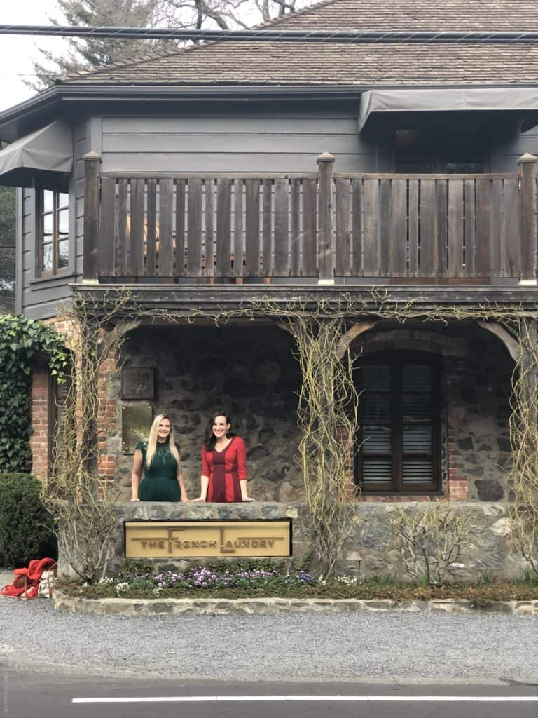 Two women in front of The French Laundry