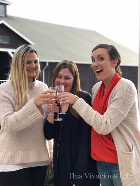 Three women doing a cheers with non-alcoholic wine