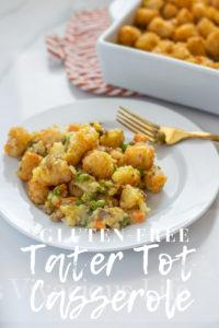 This gluten-free tater tot casserole is a one pan meal that couldn't be more comforting. It is the epitome of a family friendly weeknight meal that everyone will cheer for! || This Vivacious Life #glutenfree #casserole #glutenfreetatertotcasserole #tatertotcasserole #glutenfreecasserole #glutenfreedinner