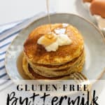 Gluten-free pancakes that are light, fluffy and so full of flavor! They are going to be a new family favorite recipe whether you eat gluten-free or not... They are THAT good! Plus, they can be made in only 20 minutes. #glutenfreepancakes #glutenfreepancakemix #pancakes #pancakemix #glutenfreebreakfast