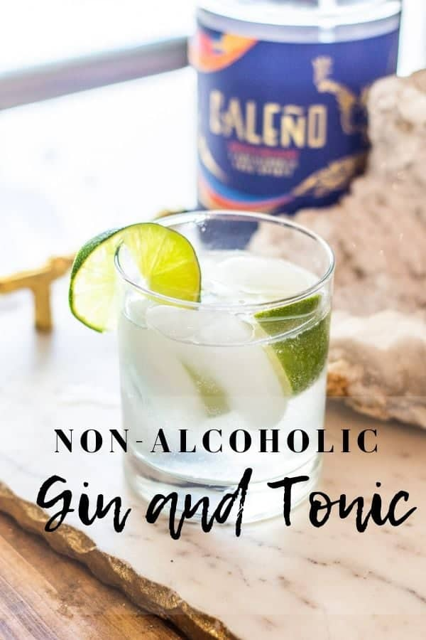 Non-alcoholic gin and tonic with lime wedge
