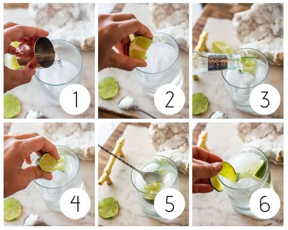 Step-by-step instructions for non-alcoholic gin and tonic mocktail