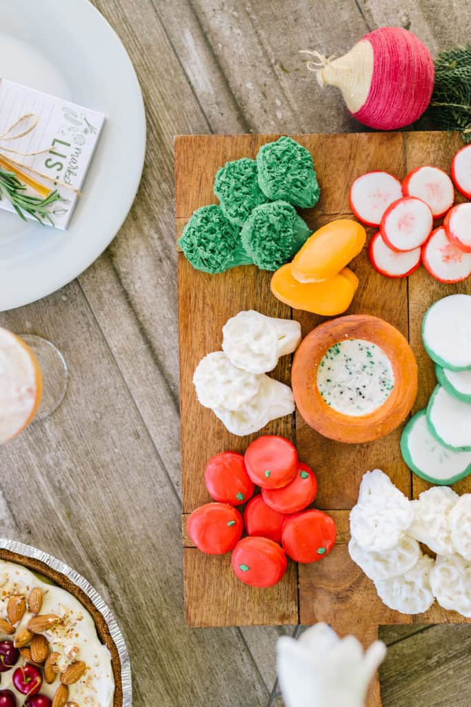 Vegetable cookies on a wood tray