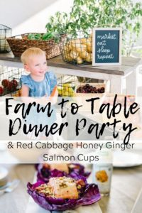 Farm to table dinner party photo with text