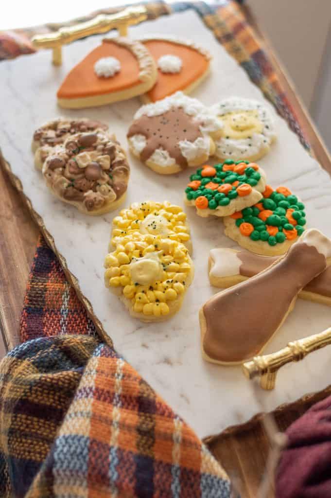 Thanksgiving sugar cookies on a platter pumpkin pie cookies