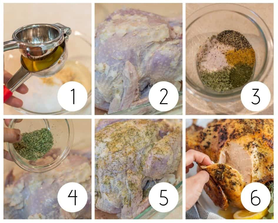 Step by step photos of gluten-free turkey with herbs