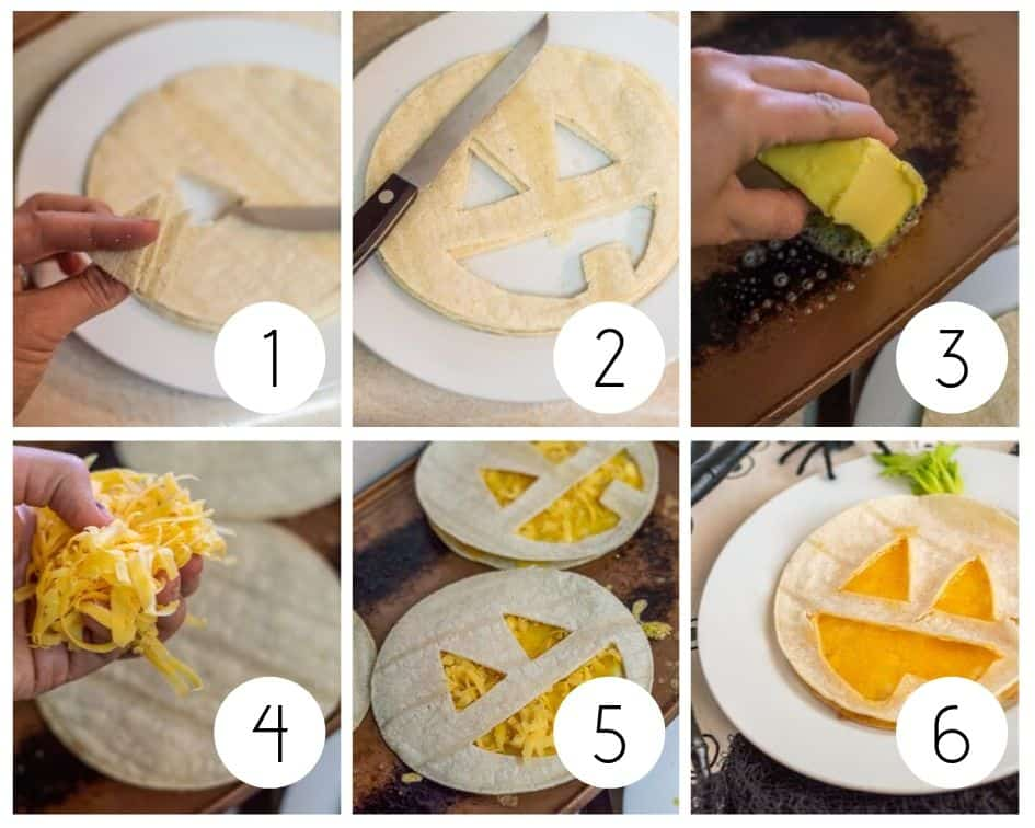 Step by step photos for making jack o' lantern quesadillas