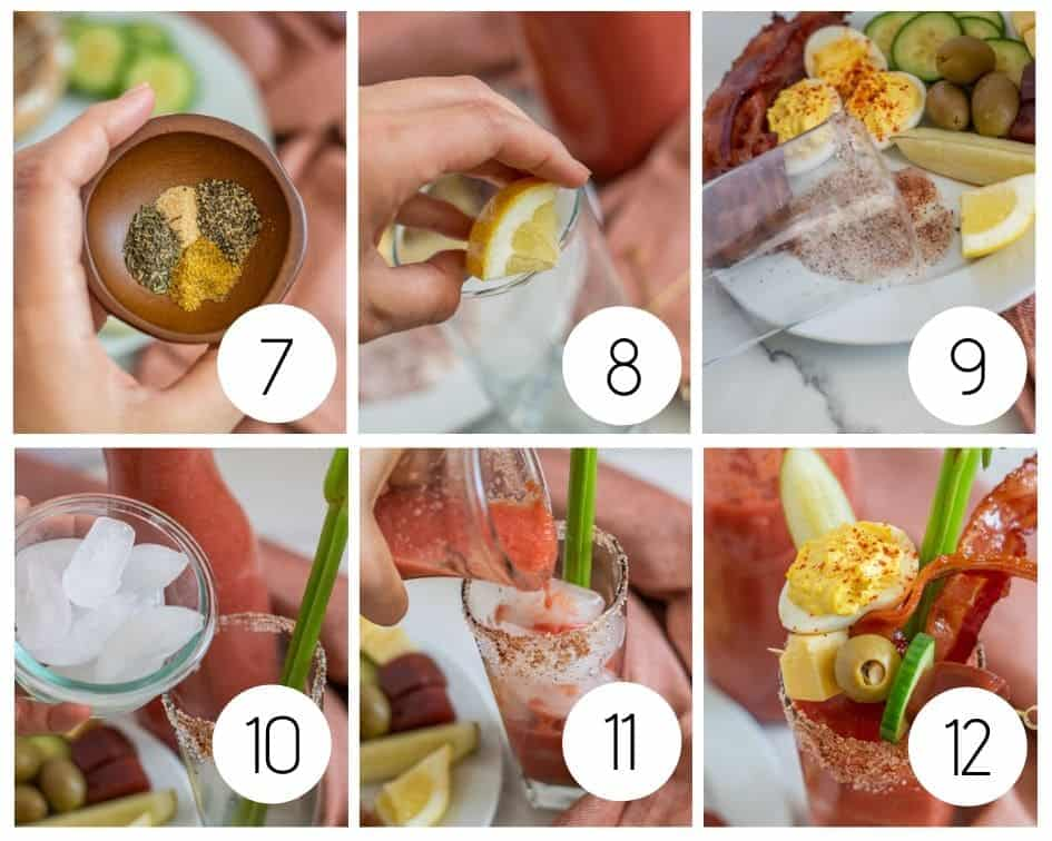 step by step instructions for making a non-alcoholic Bloody Mary mocktail