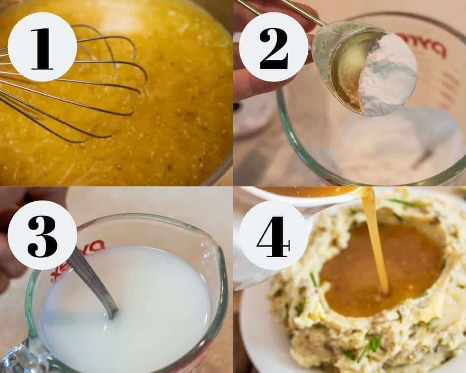 Step by step instructions for making gluten-free gravy