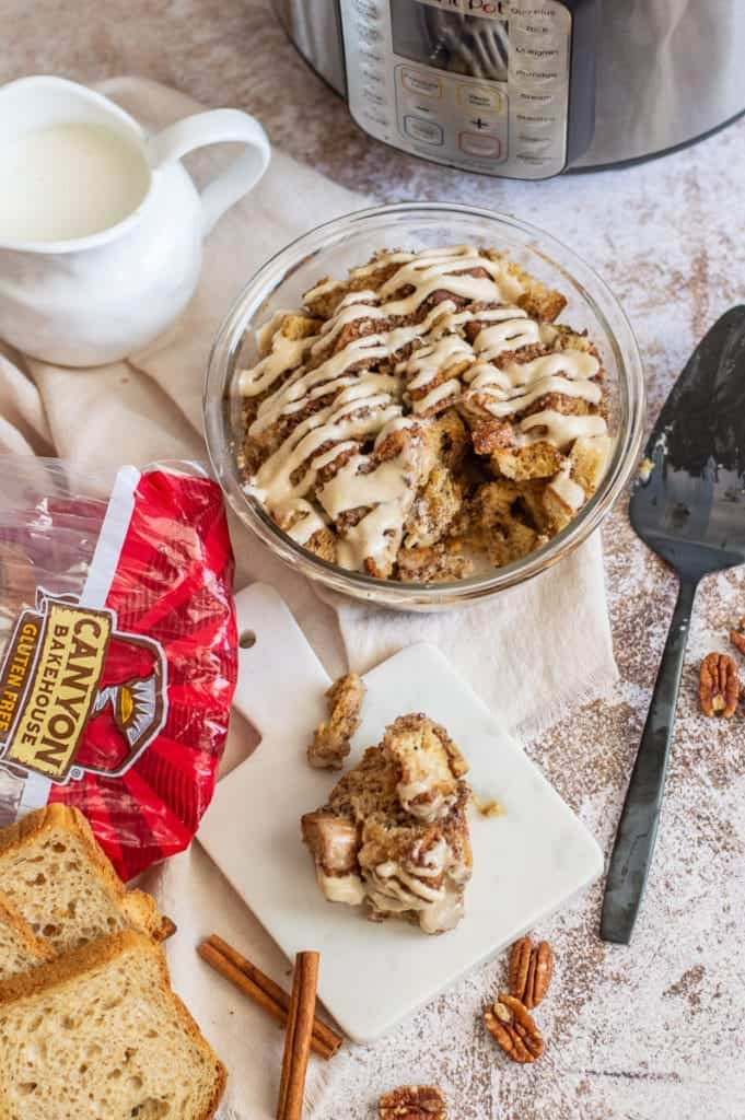 Cinnamon roll French toast casserole with bread and milk