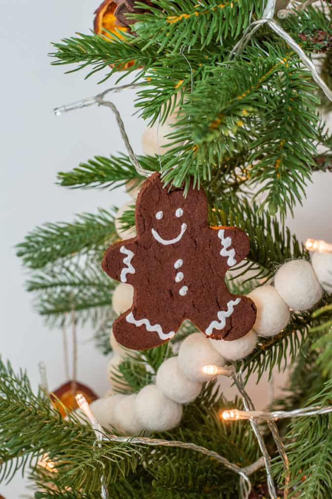 DIY gingerbread ornaments on a tree
