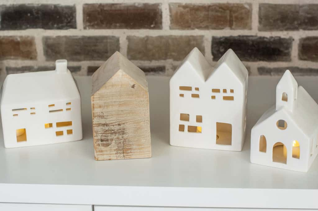 Little ceramic christmas houses and a wood house