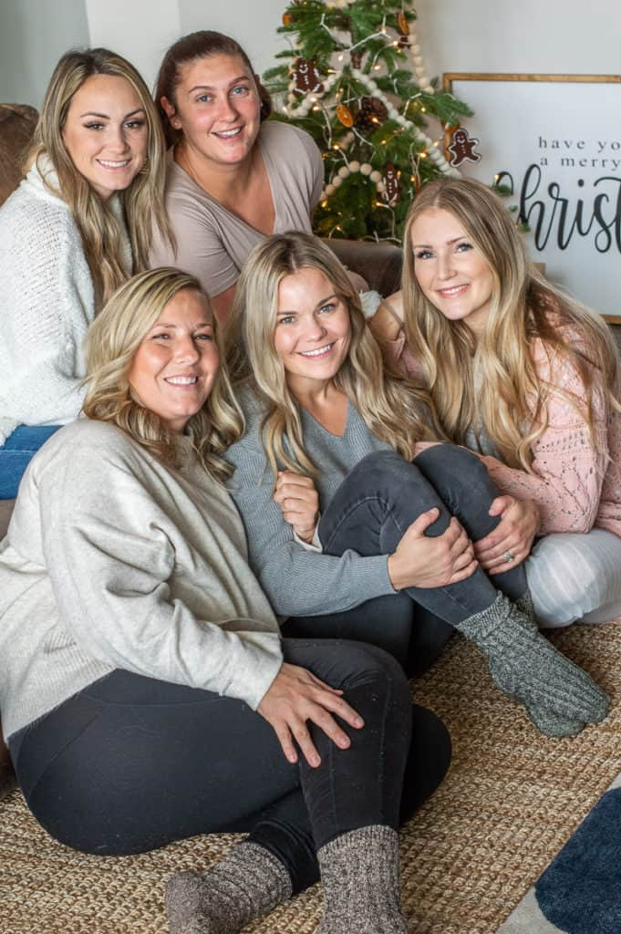 Girls smiling in cozy christmas socks
