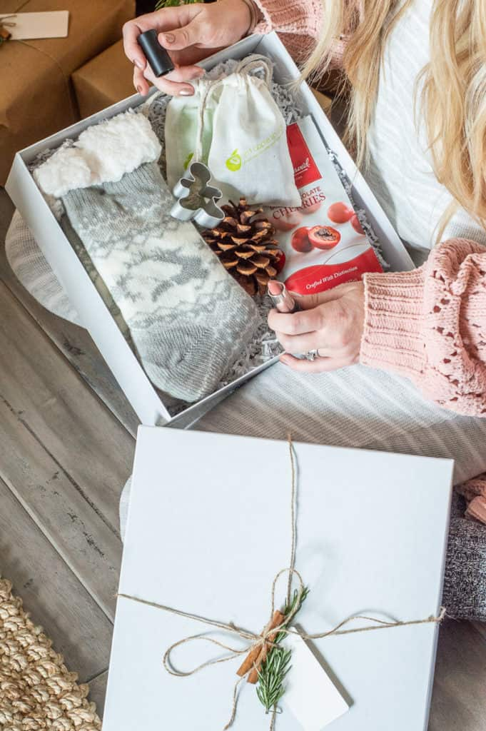 Hygge Christmas gift box filled with cozy goodies
