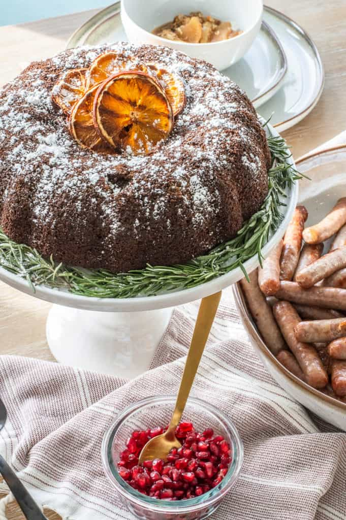 Gluten-free gingerbread cake, sausage and pomegranate seeds