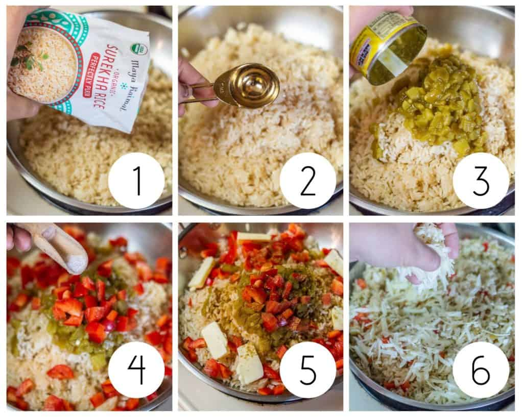Step by step green Chile rice photos