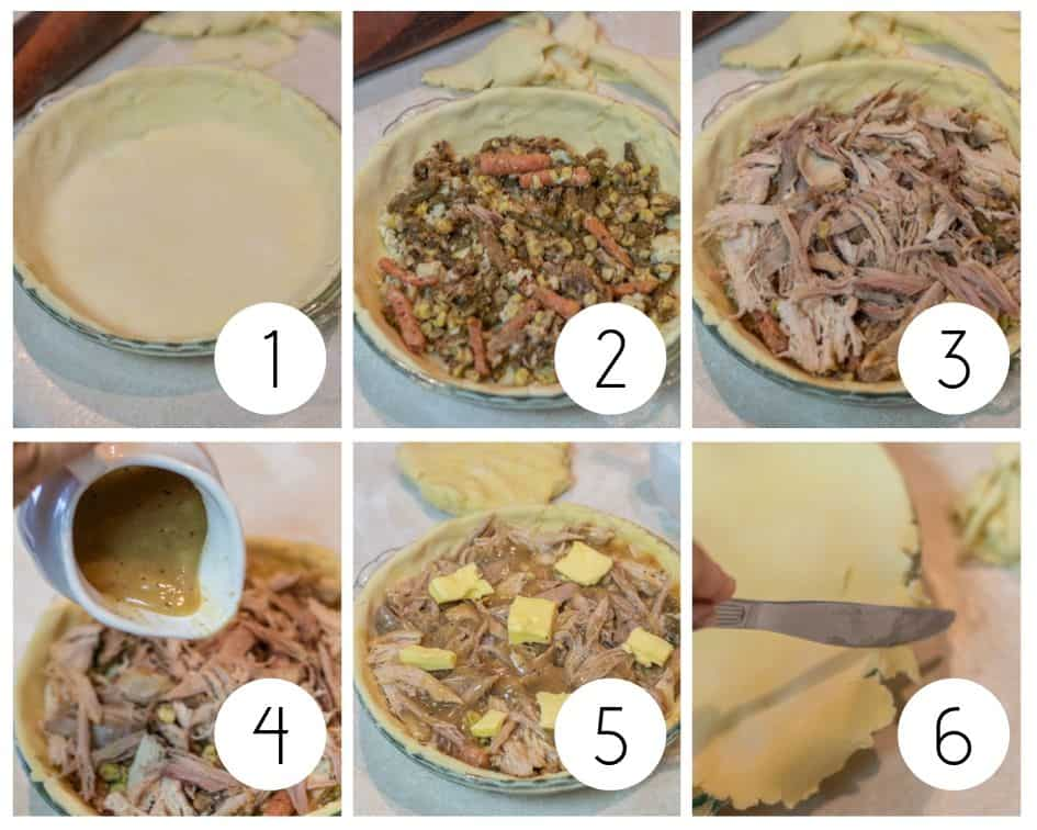 Step by step photos of chicken pot pie