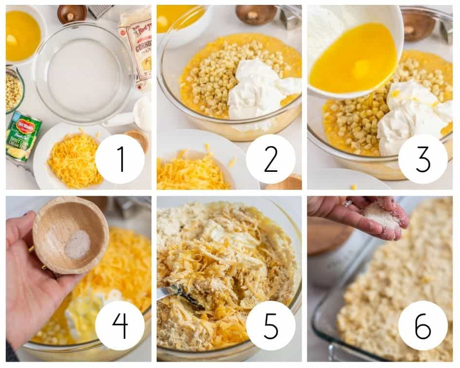 Step by step photos for how to make gluten-free cornbread casserole