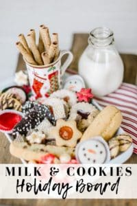 Milk and cookies on a white platter with red striped towel