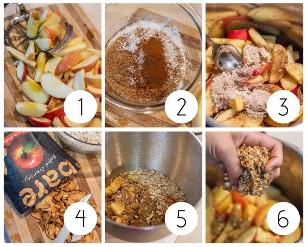 Step by step photos of making Instant Pot apple Crisp