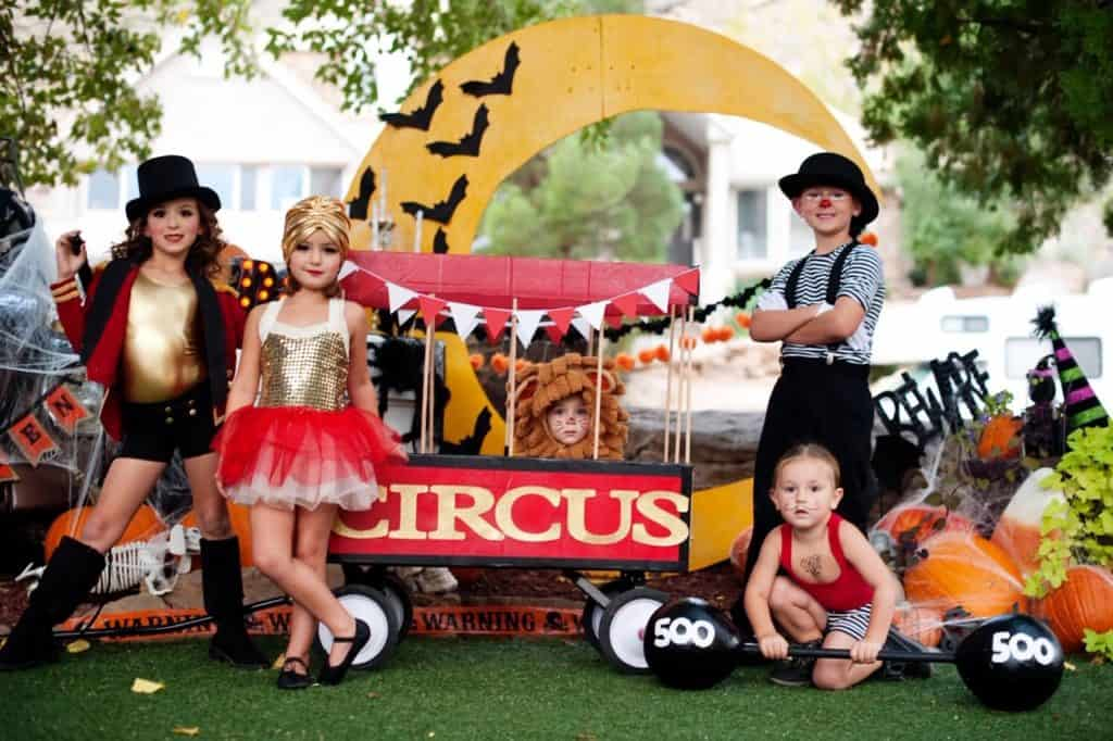 Kids in circus themed costumes