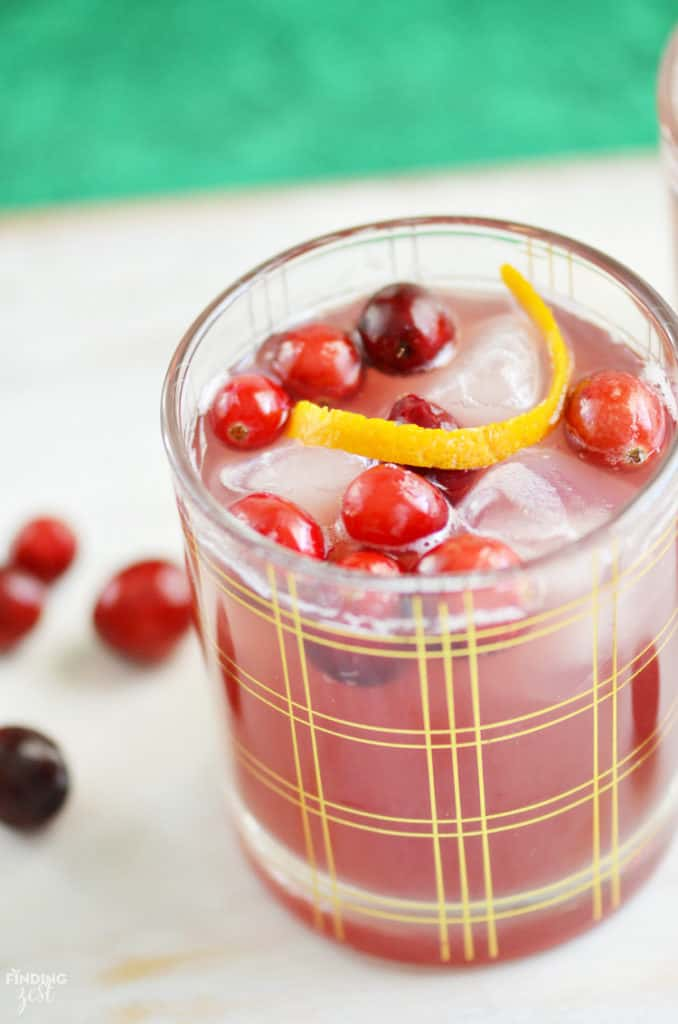 Glass with gold lines and cranberry drink