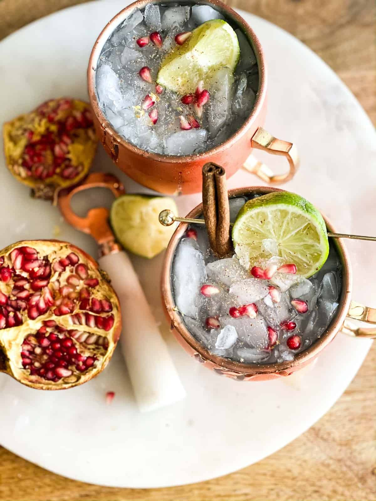 Thanksgiving mocktail in copper cup