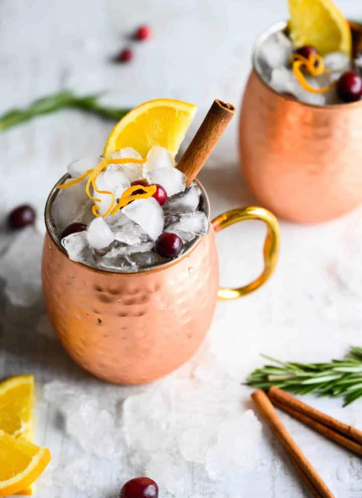 cranberry Moscow Mule with orange