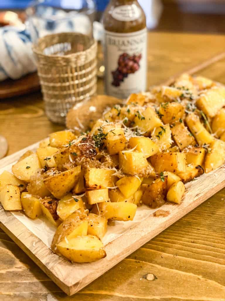 red roasted potatoes on a plate