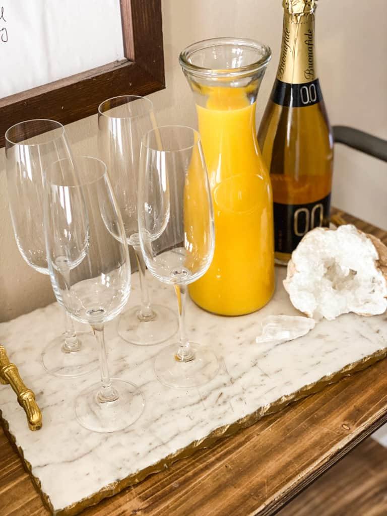 Champagne glasses with orange juice