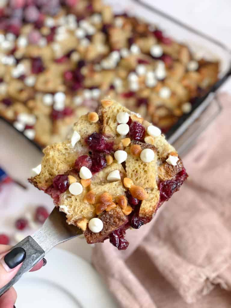 gluten-free French toast casserole with white chocolate and cranberries