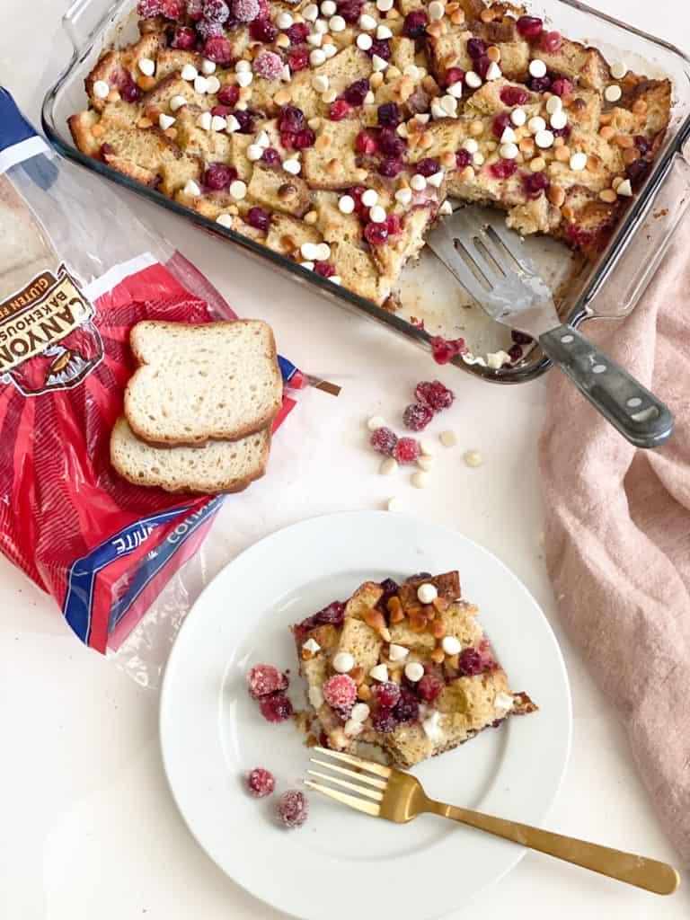 gluten-free French toast casserole overhead shot