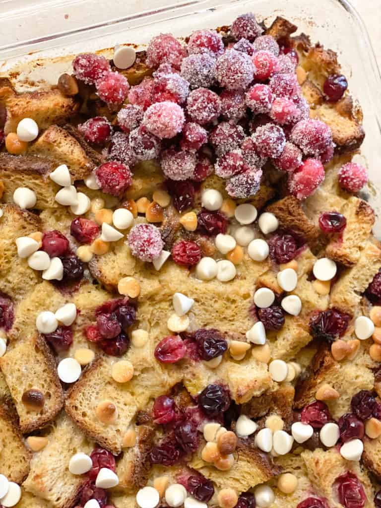 gluten-free French toast casserole with sugared cranberries