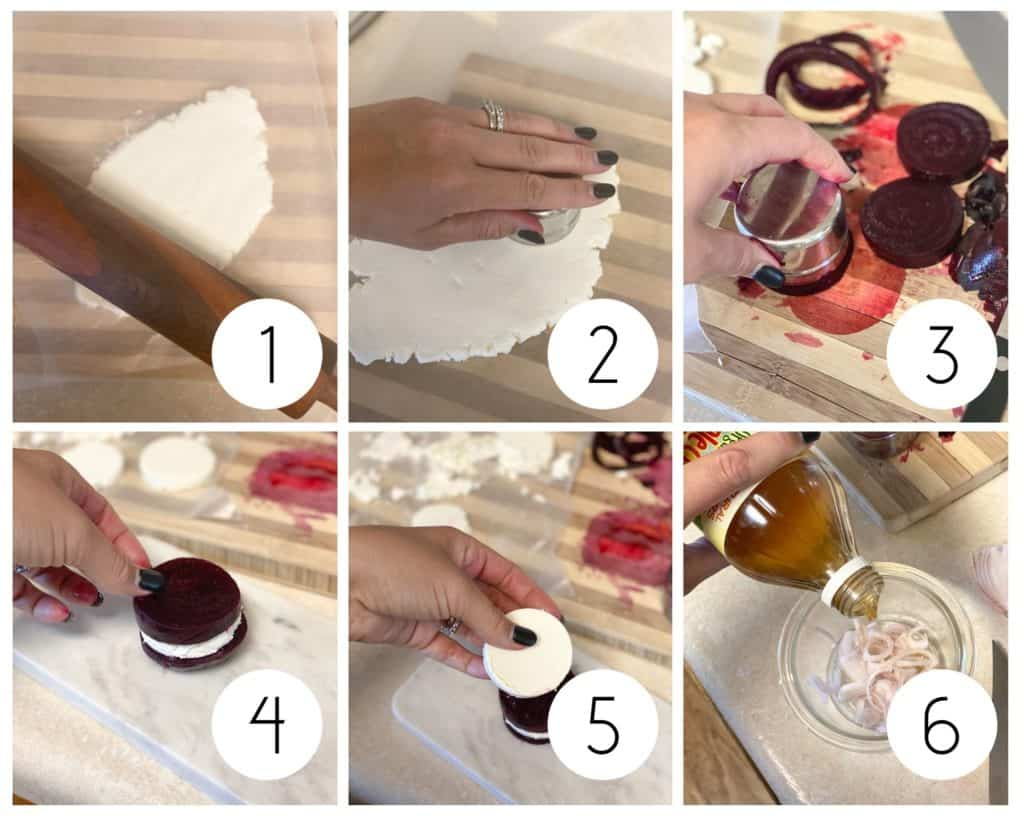 step by step goat cheese and beet salad