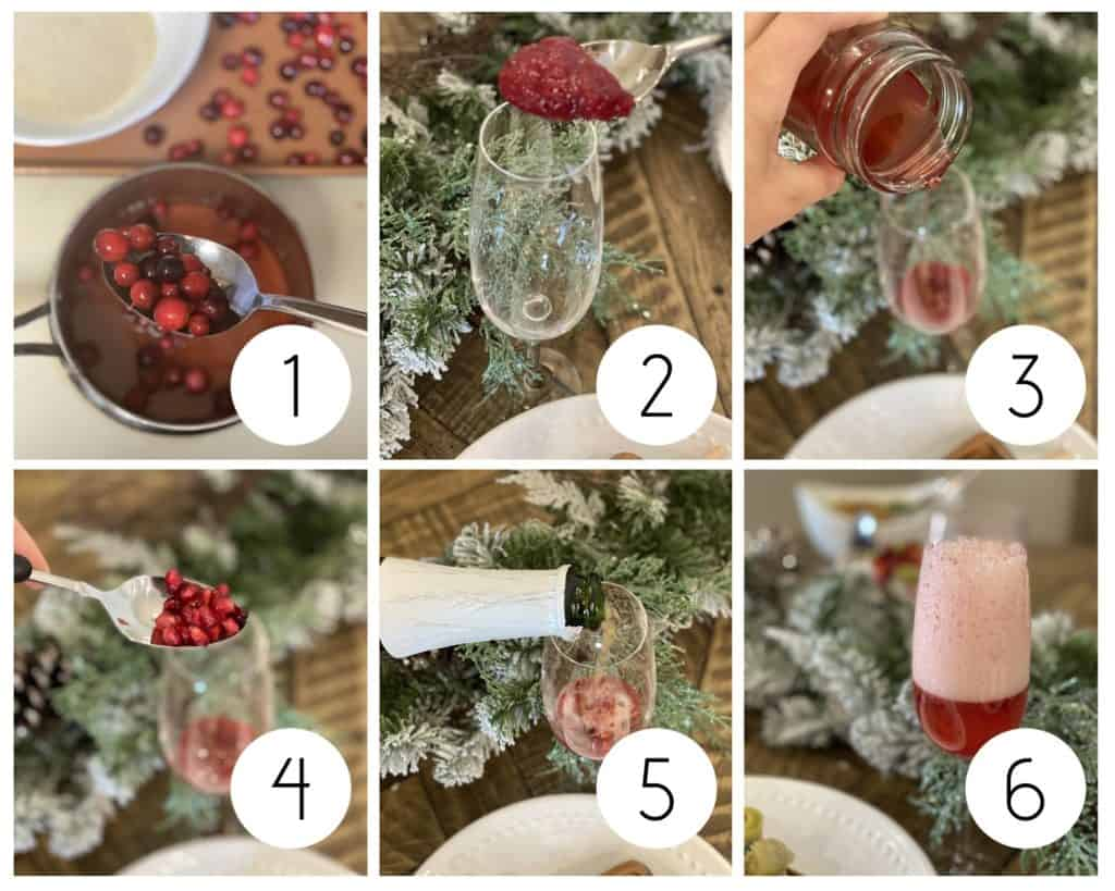 step by step cranberry mocktail collage