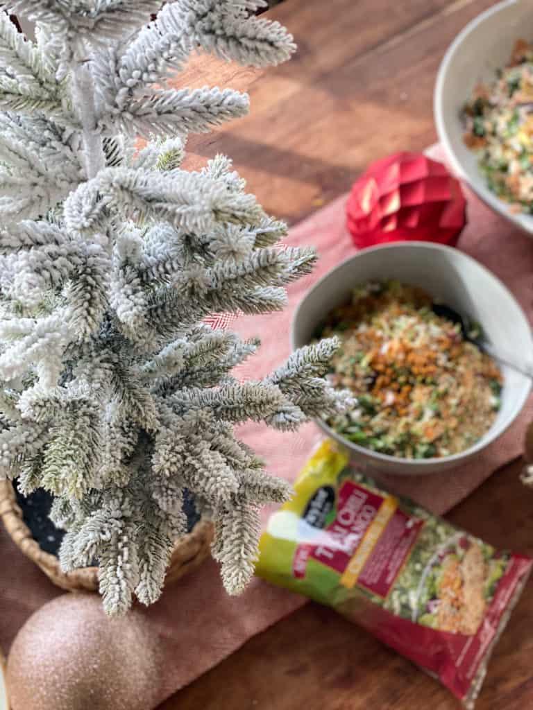 Christmas tree and salad on a table