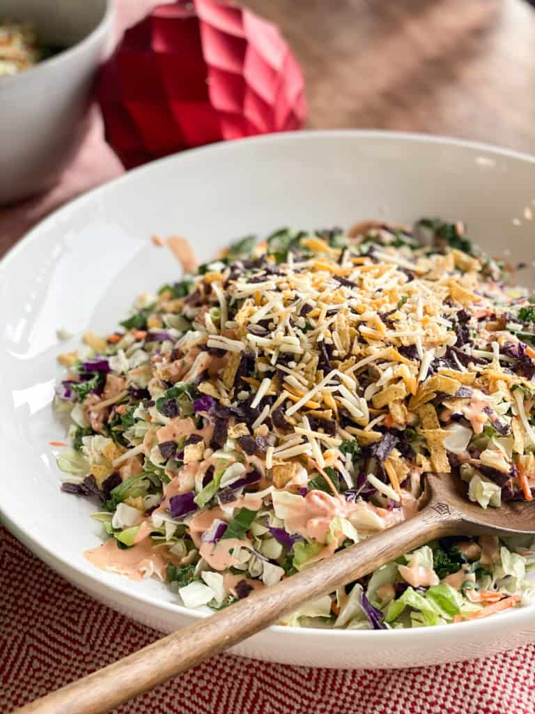 Big bowl of salad with dressing